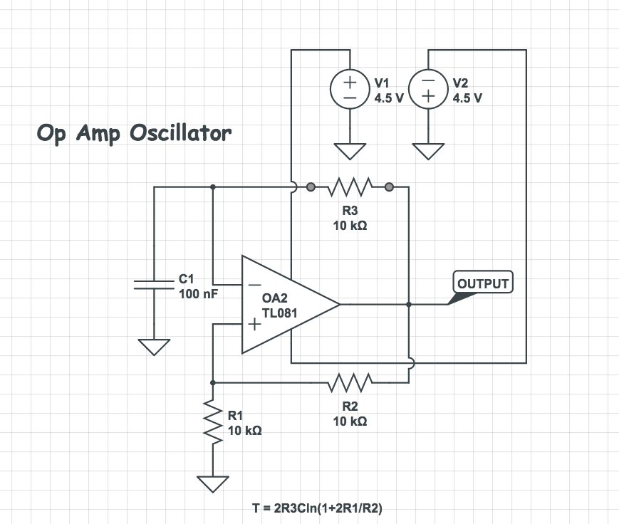 Square Wave Oscillator with Op Amp